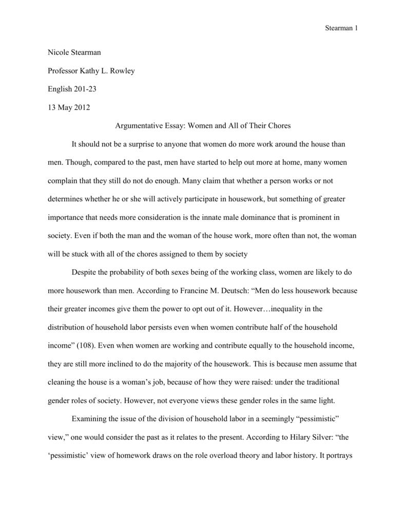 Argumentative Essay Draft 2 Gender Stratification