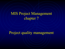 Project quality management (PMI body of knowledge)