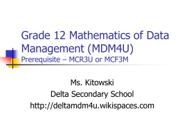 Grade 12 Mathematics of Data Management