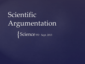 Scientific Argumentation - Wayne County Public Schools