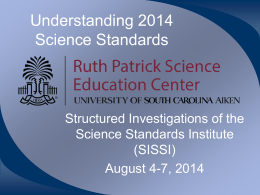 Intro to NEW SC Academic Science Standards and Practices