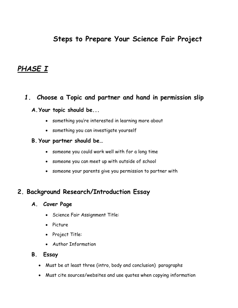 science fair project title page