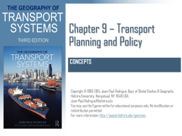 Chapter 9 * Transport Planning and Policies