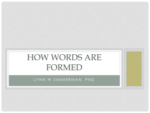 How Words Are Formed