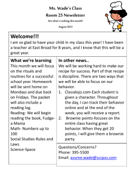 Ms. Wade's Class Room 25 Newsletter