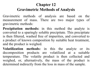 Chapter 8 Gravimetric Methods of Analysis