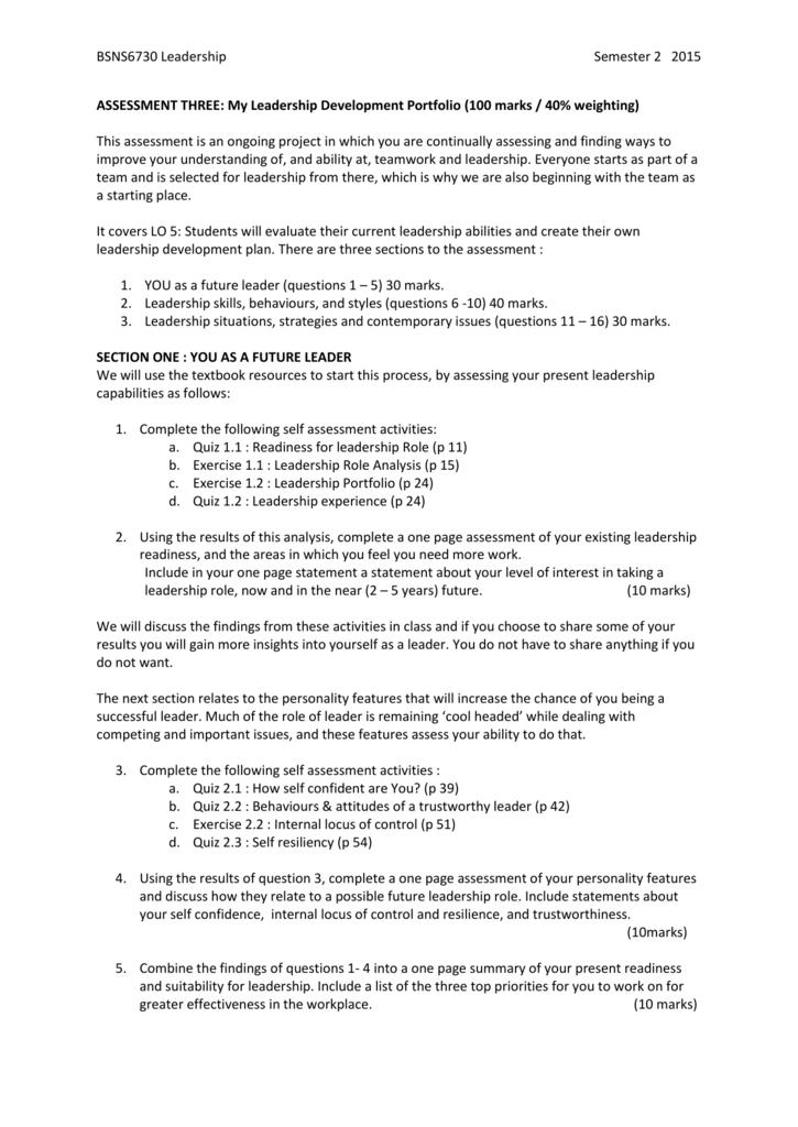 assessment three : my leadership portfolio