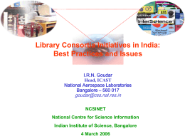 Consortia-ncsi-Lect - Indian Institute of Science