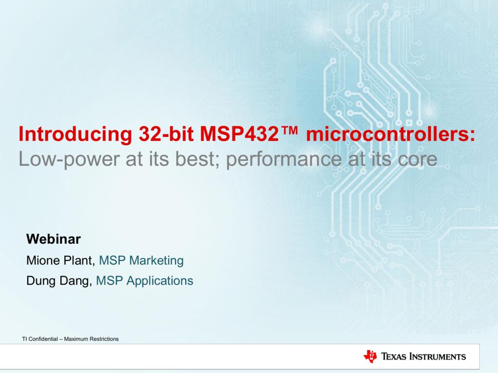 MSP432 ™ MCUs