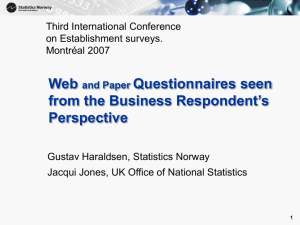 Paper and Web Questionnaires seen from the Business