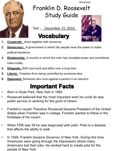 Franklin Roosevelt Study Guide