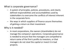 Evaluating Corporate Governance