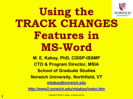 Using the TRACK CHANGES Features in MS-Word
