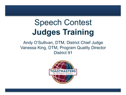 Judging - Toastmasters UK South