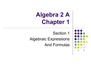 Alg 2 A section 1.1 expressions and formulas