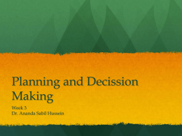 Planning and Decission Making