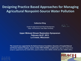 Designing Practice Based Approaches for Water Quality Improvement