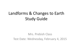 Landforms & Changes to Earth Study Guide