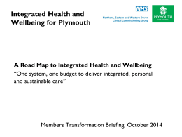 Integrated Health and Wellbeing for Plymouth