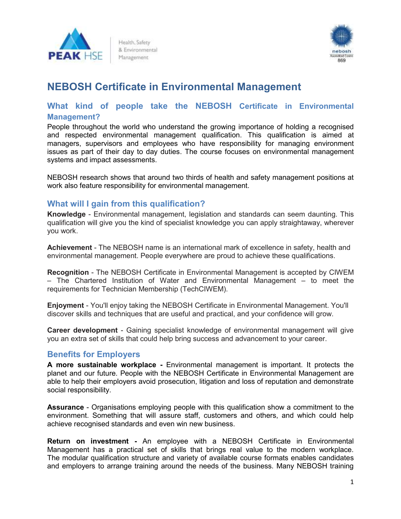 The Nebosh Certificate In Environmental Management Consists Of