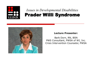Prader-Willi Syndrome Across the Life Span