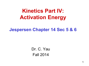 Kinetics Part IV - CCBC Faculty Web