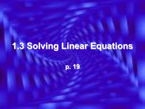 1.3 Solving Linear Equations