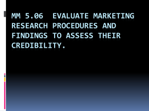MM 5.06 Evaluate marketing research procedures and findings to