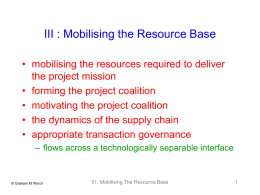 5 : Mobilising the Resource Base