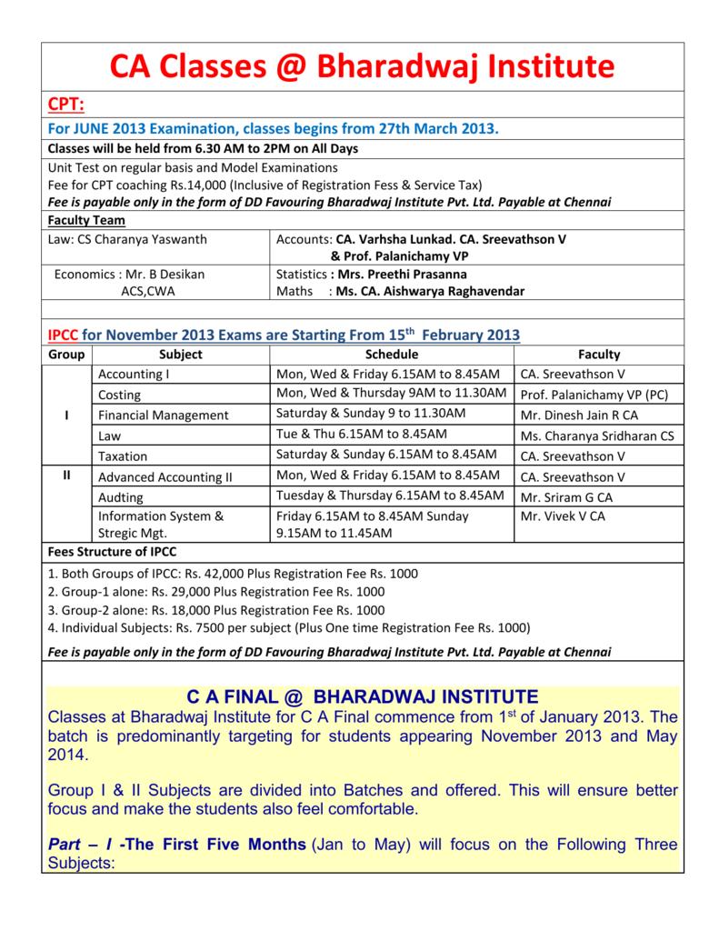 CA Classes @ Bharadwaj Institute CPT