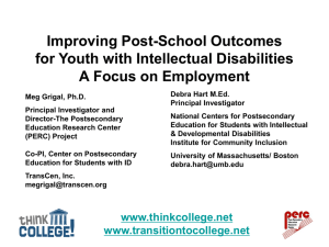 Improving Post-School Outcomes for Youth with Intellectual