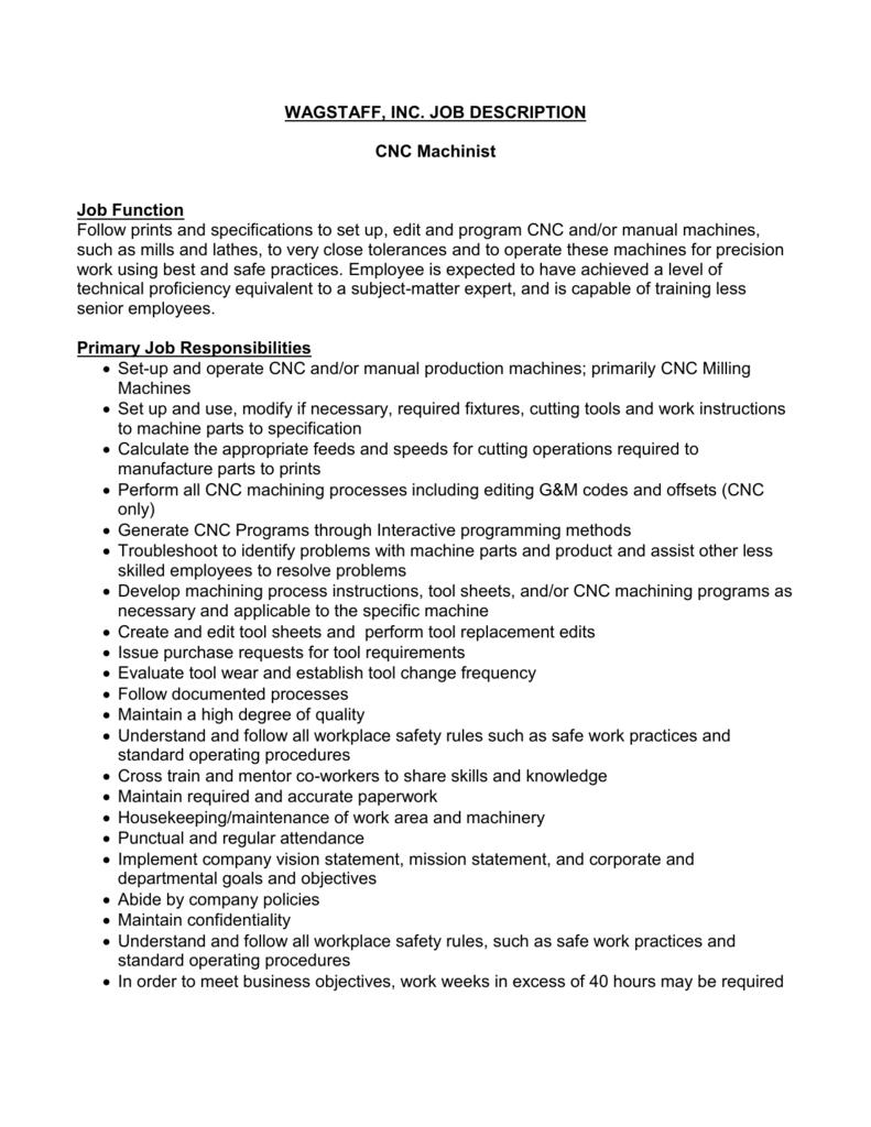 2013 jd template - Machinist Job Duties