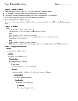 Phase Changes Worksheet