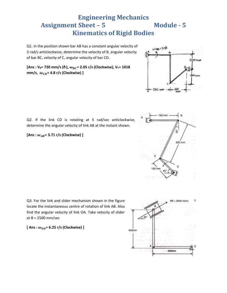 Engineering Mechanics Assignment Sheet * 5 Module