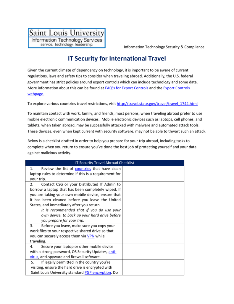 IT Security Checklist for International Travel