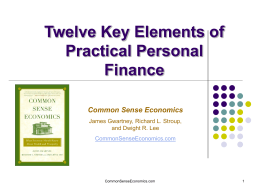12 Key Elements of Practical Personal Finance