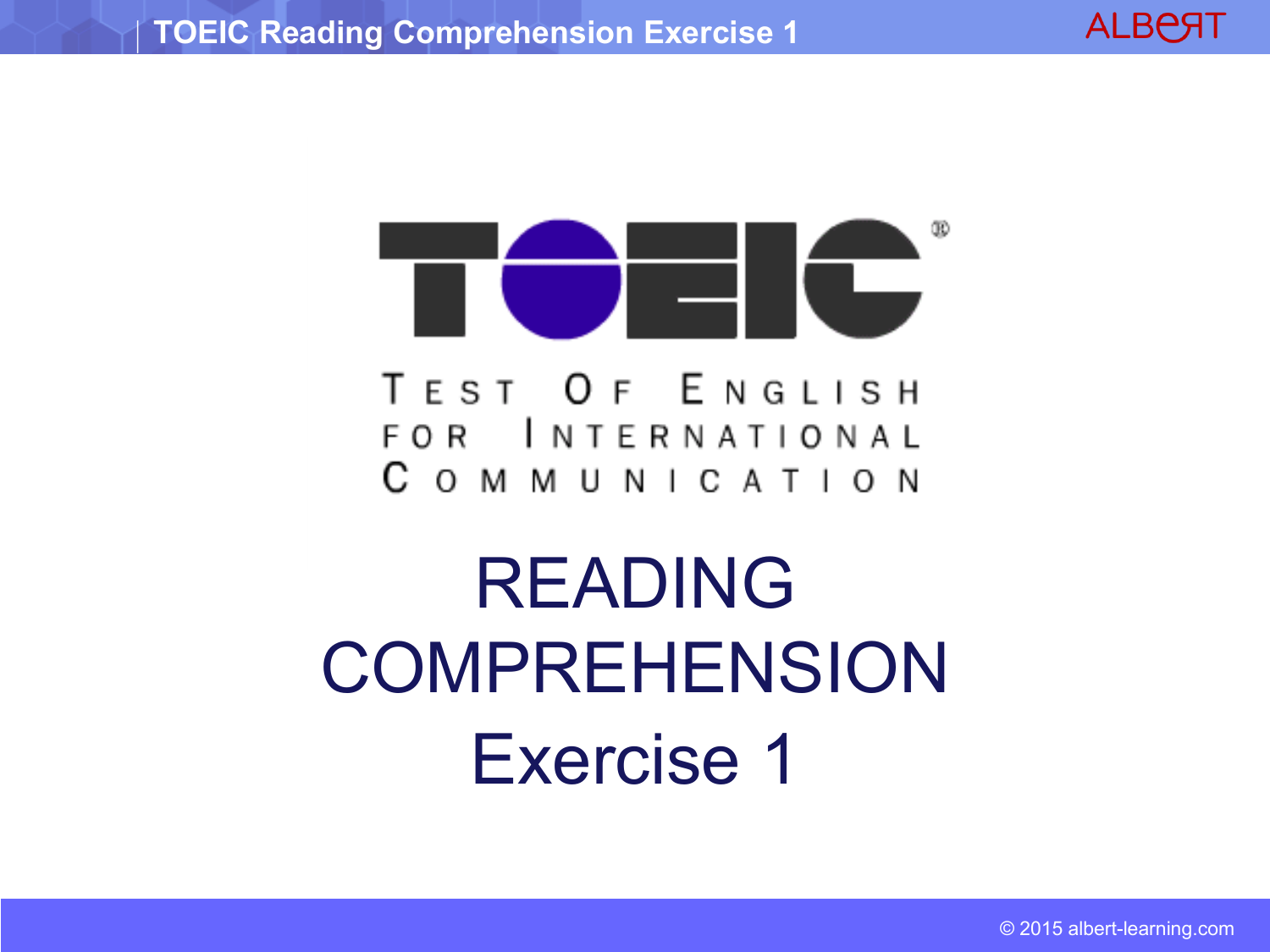 TOEIC Reading Comprehension Exercise 1