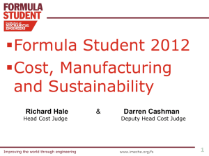 Cost & Sustainabilty debrief 2012