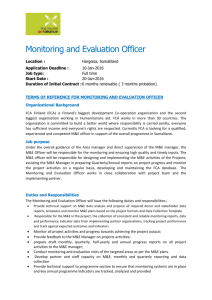 Monitoring and Evaluation Officer Location : Hargeisa, Somaliland