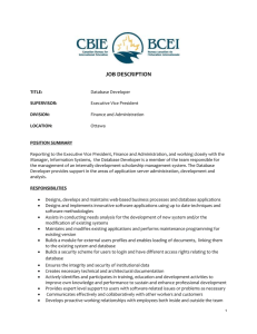 TITLE: Database Developer - CBIE-BCEI