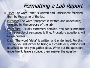 Formatting a Lab Report