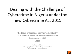 cybercrime act 2015 - Lagos Chamber of Commerce & Industry