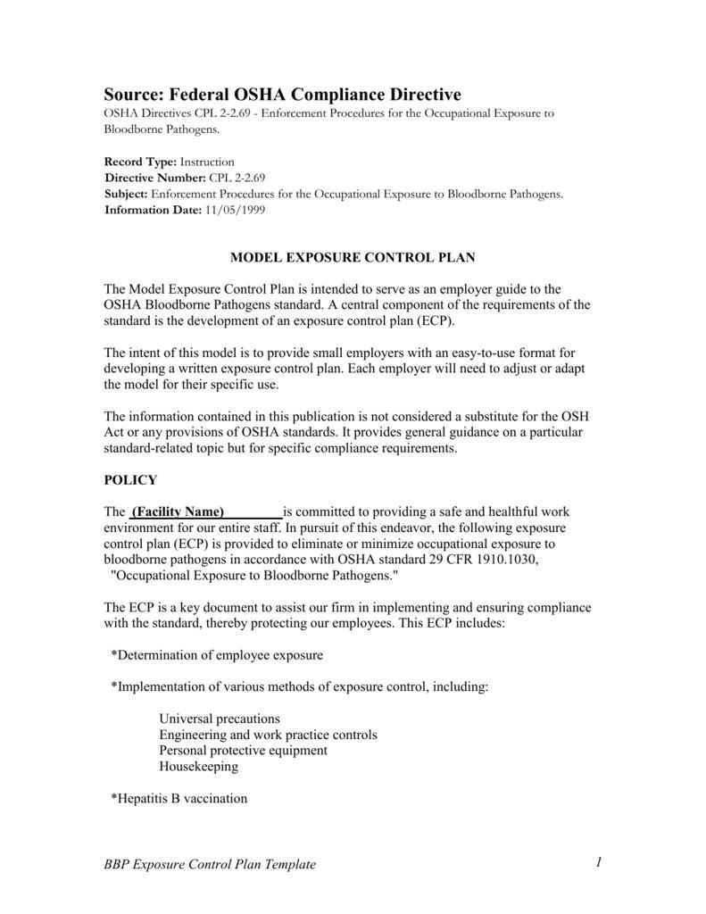 osha bbp exposure control plan template