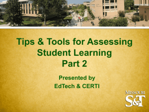 Tips and Tools for Assessing Student Learning