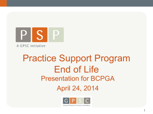 Practice Support Program​ End of Life