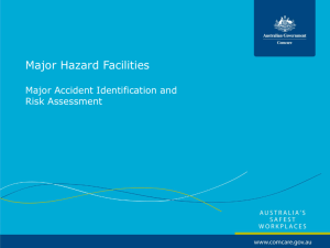 Major Hazard Facilities - Major accident identification and risk