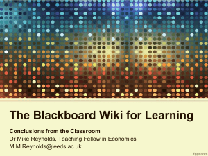 The Blackboard Wiki for Learning