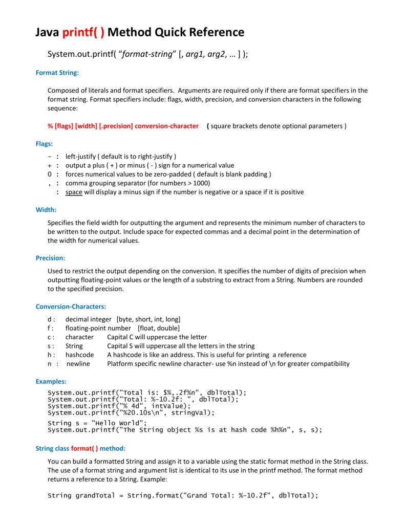 Javaprintfmethodquickreference