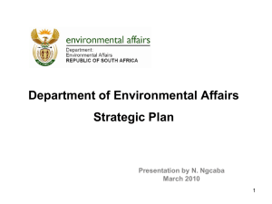 Department of Environmental Affairs Strategic Plan Presentation by