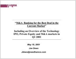 M&A – Banking for the Best Deal